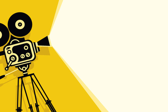 Vector yellow background with lighting old fashioned movie camera on the tripod. Can used for banner, poster, web page, background