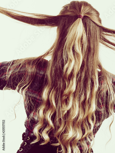 Back View On Woman Curly Hair Stock Photo And Royalty Free Images