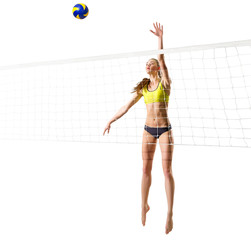 Woman beach volleyball player (with net and ball ver)