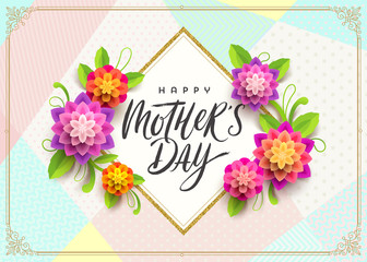 Happy mother's day - Greeting card. Brush calligraphy greeting and flowers on pattern background. Vector illustration.