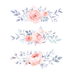 Dusty pink floral borders in watercolor style