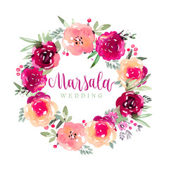 Floral marsala wreath in watercolor style
