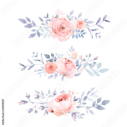 dusty pink floral borders in watercolor style stock image and