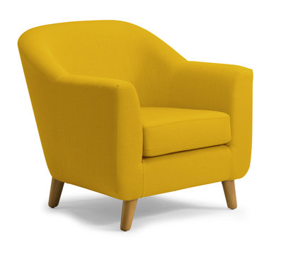 Tub Chair Mustard isolated on white