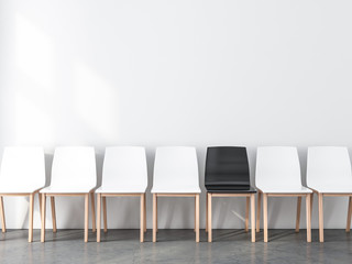 Blank wall Mockup with row of chairs in empty room, not like everyone else, 3d rendering