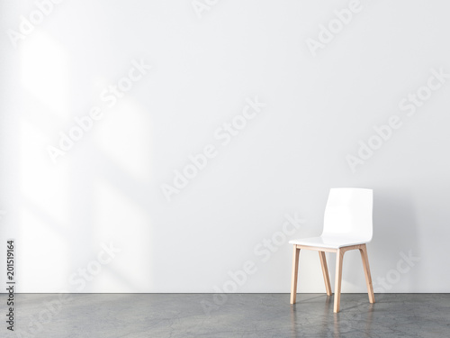 Blank Wall Mockup With White Chair In Empty Room 3d Rendering