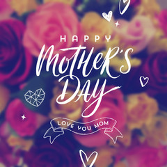Happy mother's day - Greeting card. Brush calligraphy greeting and hand drawn hearts on a blurred flowers background. Vector illustration.
