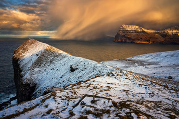Kalsoy snowstorm