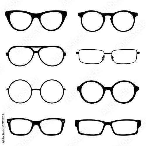 Set of spectacles, eyeglass frames, different shapes round and ...