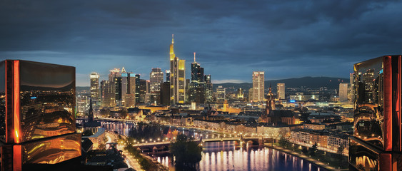 High resolution aerial panoramic view of Frankfurt, Germany at dusk.
