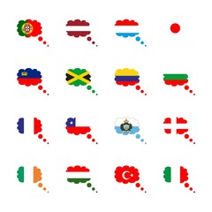 icon Flag with bulgaria, jamaica, italy, flag of portugal and flag of columbia