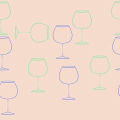 Wineglass  seamless horizontal  pattern . Hand drawn.