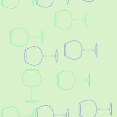 Wineglass  seamless vertical  pattern . Hand drawn.