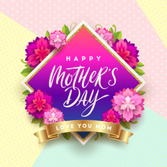 Happy mother's day - Greeting card. Brush calligraphy greeting and flowers on a pattern background. Vector illustration.