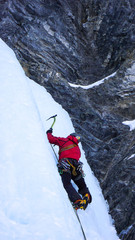 ice climbing in the Sertig Valley near Davos in the Swiss Alps