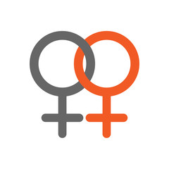 Female homosexuality symbol. Lesbian glyph. Doubled female sign. Vector icon.