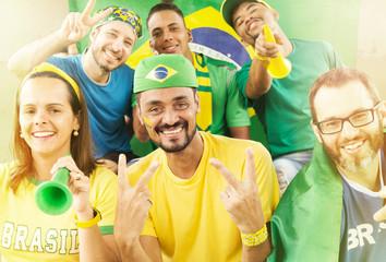 Brazilian supporters at stadium bleachers.