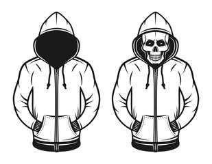 Hoodie with blank face and with skull objects