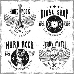 Rock music vector monochrome emblems or labels