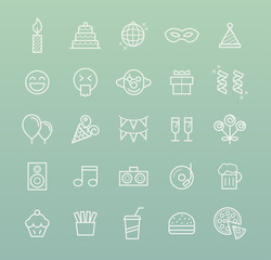 Set of Quality Universal Standard Minimal Simple White Thin Line Party and Birthday Icons on Color Background