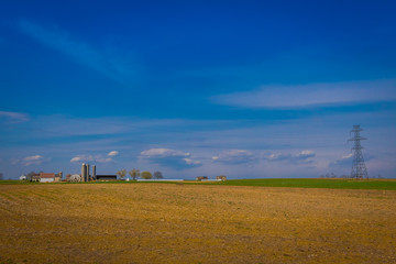 Outdoor view of Amish country farm barn field agriculture in Lancaster