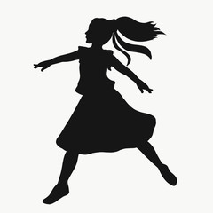 girl dances and makes a leap