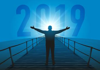 2019 - objectif - horizon - perspectives - présentation - projet - entreprise - concept - symbole - avenir