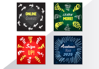4 Doodle Style  Social Media Post Layouts