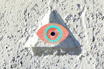 The all-seeing eye abstraction of the magic symbol of Freemasonry