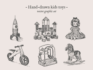 Toys vector hand-drawing set