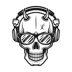 Devil skull head with horns in headphones