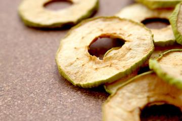 Dried Green Apple Rings in Pile