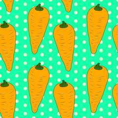 Vector illustration, soft seamless pattern in vintage style, beautiful cartoon orange carrots on green dotted background