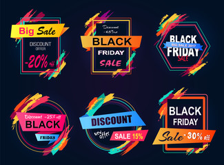 Big Sale Black Friday Stickers Vector Illustration
