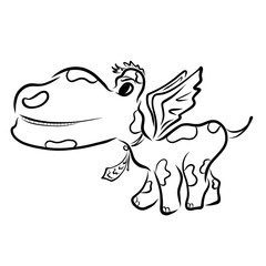 Funny dinosaur or dragon with a tie