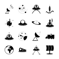 icon Cosmos with solar system, atmosphere, satellite plate, earth and alien plane