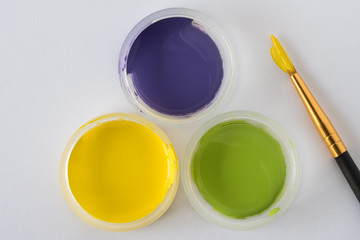 Yellow, Purple, and Green artist paints