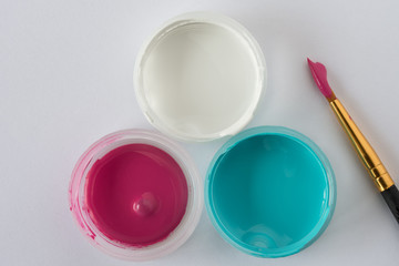 Pink, White, and Blue artist's paint
