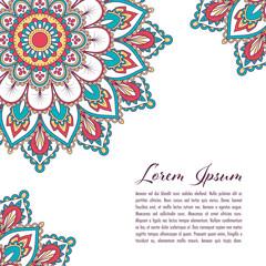 Ethnic mandala decorative background. Greeting card or invitation template. Hand drawn vector illustration