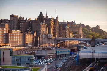 Edinburgh cityscape viewed from Calton Hill Scotland UK