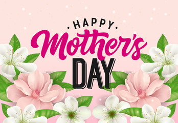 Happy Mother Day lettering with flowers on pink background. Mothers Day greeting card. Handwritten and typed text, calligraphy. For greeting card, invitation, poster, postcard or banner.