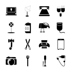 icon Technology with cut, service, dish, computer printer and signal