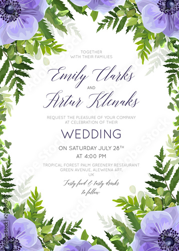 Wedding Floral Invite Invitation Card Design With Elegant
