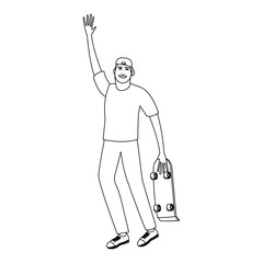 Happy young man with skateboard cartoon vector illustration graphic design