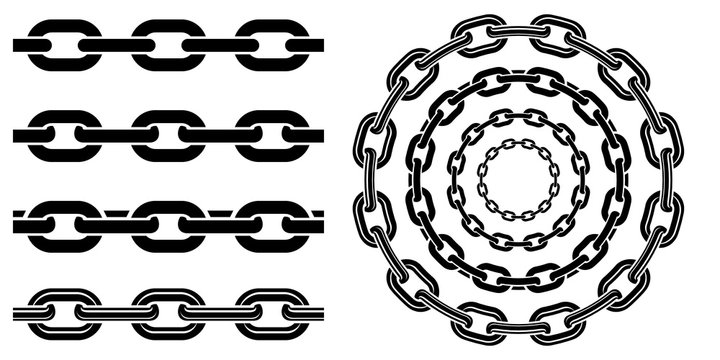 Monochrome set different type of metal chains in silhouette style. Seamless shape, for graphic design of logo, emblem, symbol, sign, badge, label, stamp, isolated on white background.