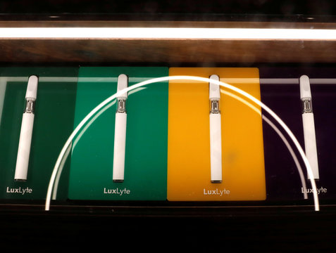 Vaping pens are displayed inside MedMen, a California-based cannabis company store serving medical prescription patients with cannabis products, on the store's opening day on 5th Avenue in Manhattan in New York City