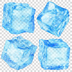 Set of four realistic translucent ice cubes in light blue color isolated on transparent background. Transparency only in vector format