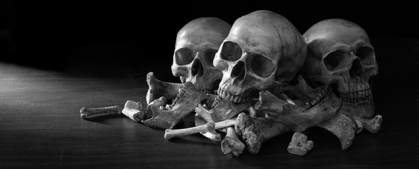 Awesome pile of three skull and bone on dark background in the morgue, Still Life style