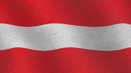 Illustration of an Austrian flag with a textile pattern