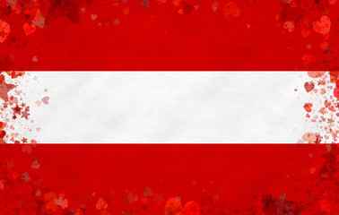Illustration of an Austrian flag with a heart motives as a frame